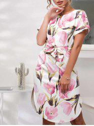 Floral Belted Printed Dress -