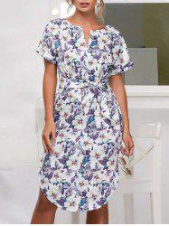 Side Slit Belted Floral Print Dress -