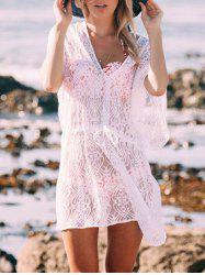 V Neck See thru Lace Cover Up Dress -