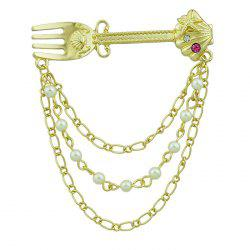 Faux Pearl Diamond Fork Shape Link Brooch -