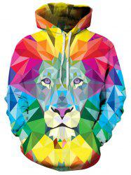 Pullover Colorful Geometrical Lion Hoodie -