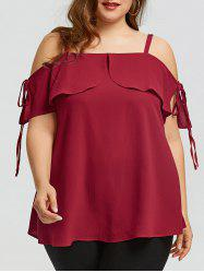 Plus Size Open Shoulder Spaghetti Strap Top -