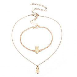 Pineapple Cute Chain Bracelet and Necklace Set -