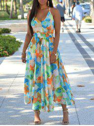 Print Back Cut Out Bohemian Maxi Dress -