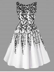 Salix Leaf Print Sleeveless Flare Dress -