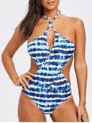 Crossover Tie Dye One Piece Swimwear -