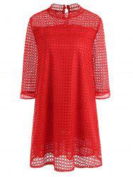 Plus Size Lace Hollow Out Mini Dress -