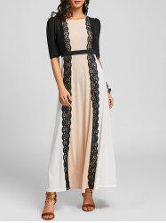 Lace Panel Maxi Party Arabic Dress -