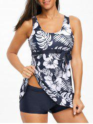 Tropical Leaf Empire Waist Tankini Set -