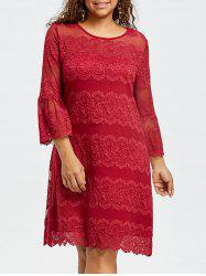Plus Size Flare Sleeve Lace Dress -