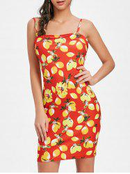 Lemon Print Open Back Mini Dress -