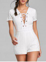 Backless Plunging Neck Lace Up Romper -
