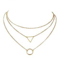 Ensemble de collier en forme de triangle triangulaire en métal -