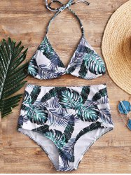 High Waisted Palm Leaf Bathing Suit -