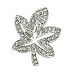Broche Epingle Forme de Feuille d'Erable Faux Diamant Incrusté -