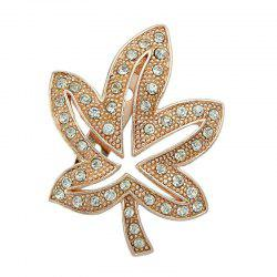 Maple Leaf Shape Faux Diamond Inlay Brooch Pin -