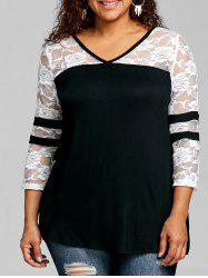 Plus Size Lace Panel V Neck T-shirt -