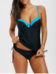 Cami Strap Two Tone Tankini Set -