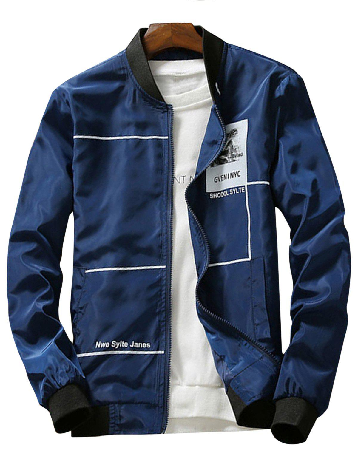 Discount Zip Up Graphic Print Lightweight Jacket
