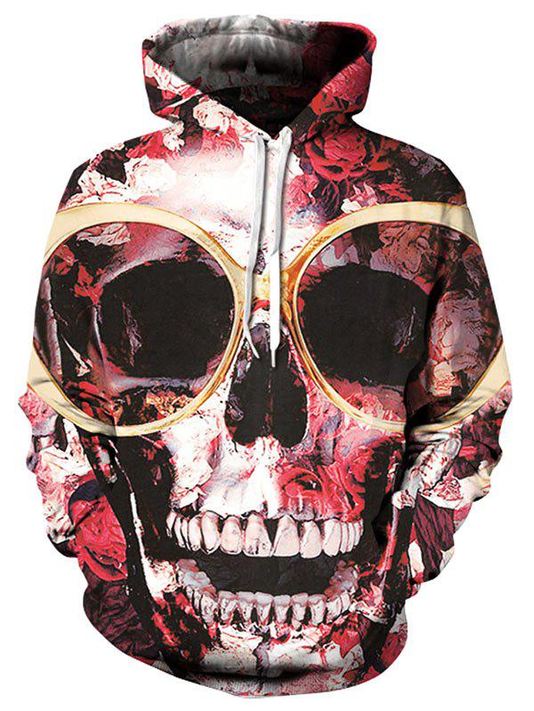 Affordable Pullover Kangaroo Pocket Floral Skull Hoodie