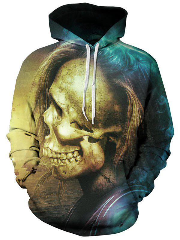 Trendy Skull with Hair Pattern Pullover Hoodie