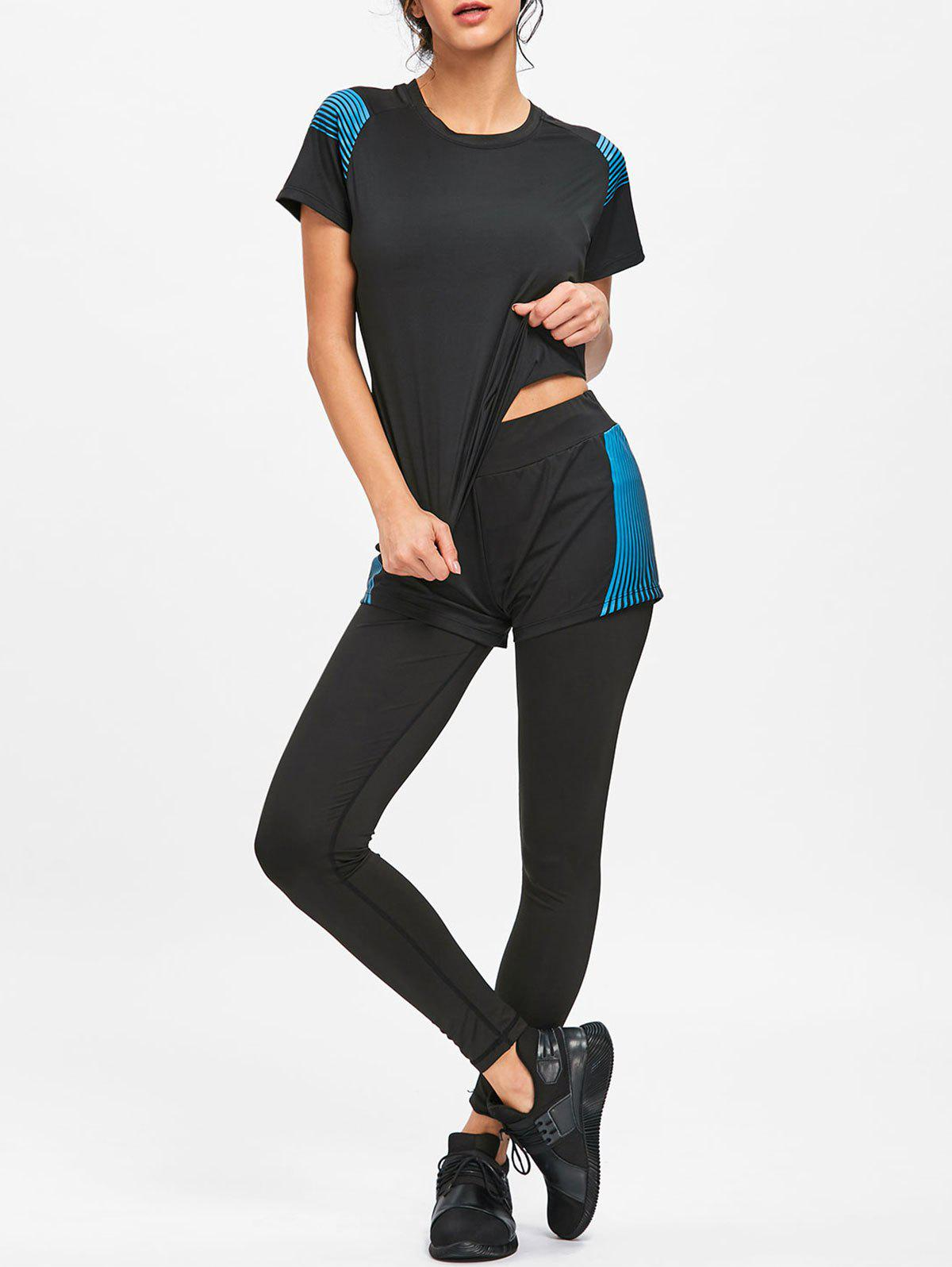 Hot Striped T-shirt Bra Shorts and Leggings Sports Suit