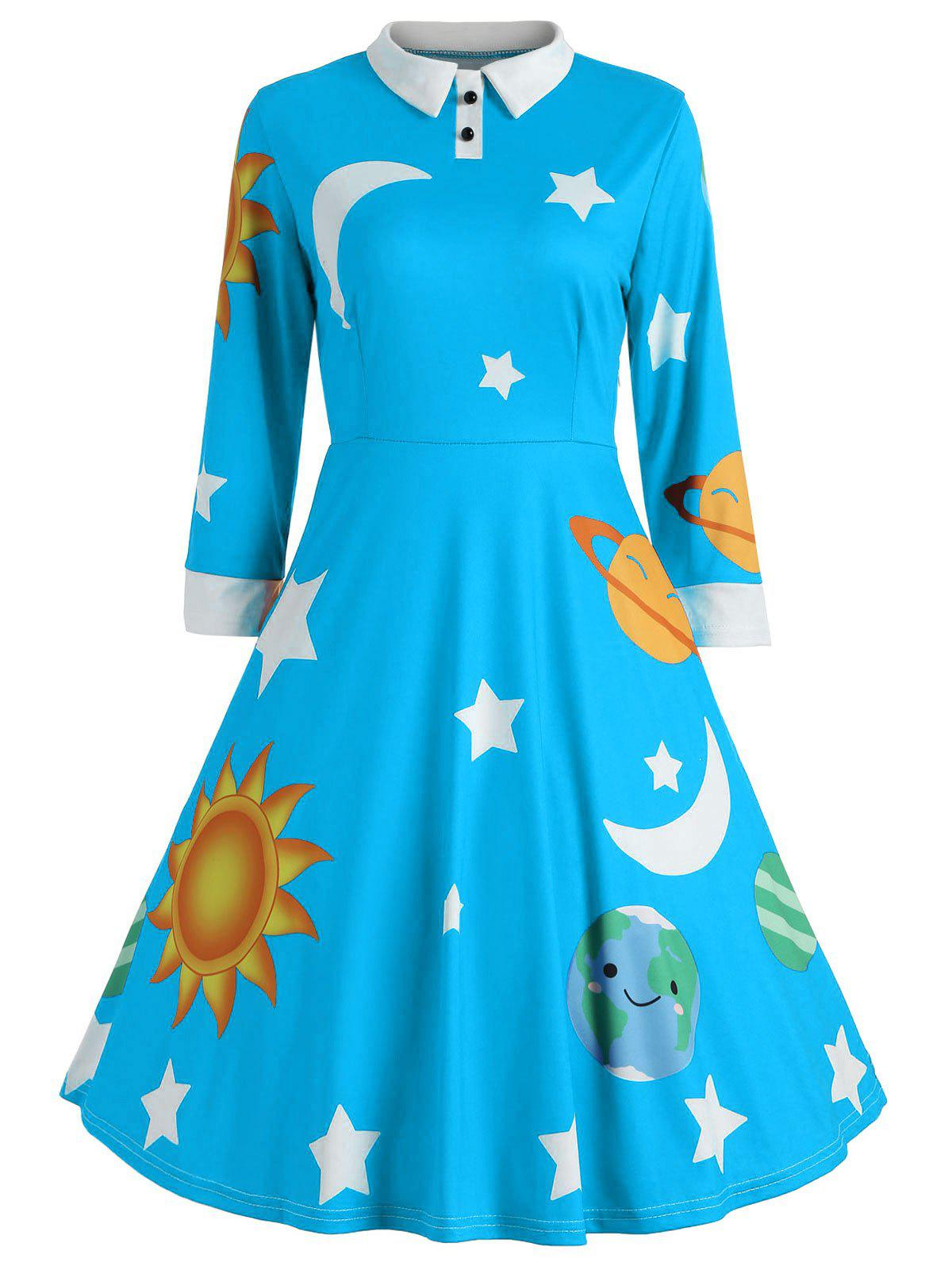 New Vintage Flare Sun and Moon Print Dress