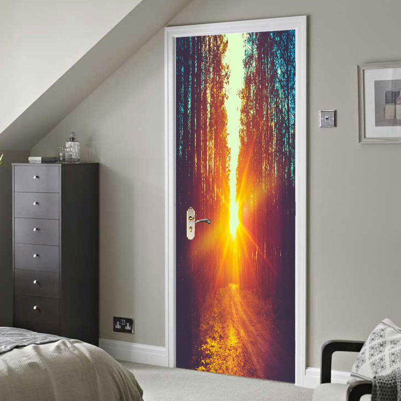 Cheap Forest Pathway Sunshine Printed Door Art Stickers