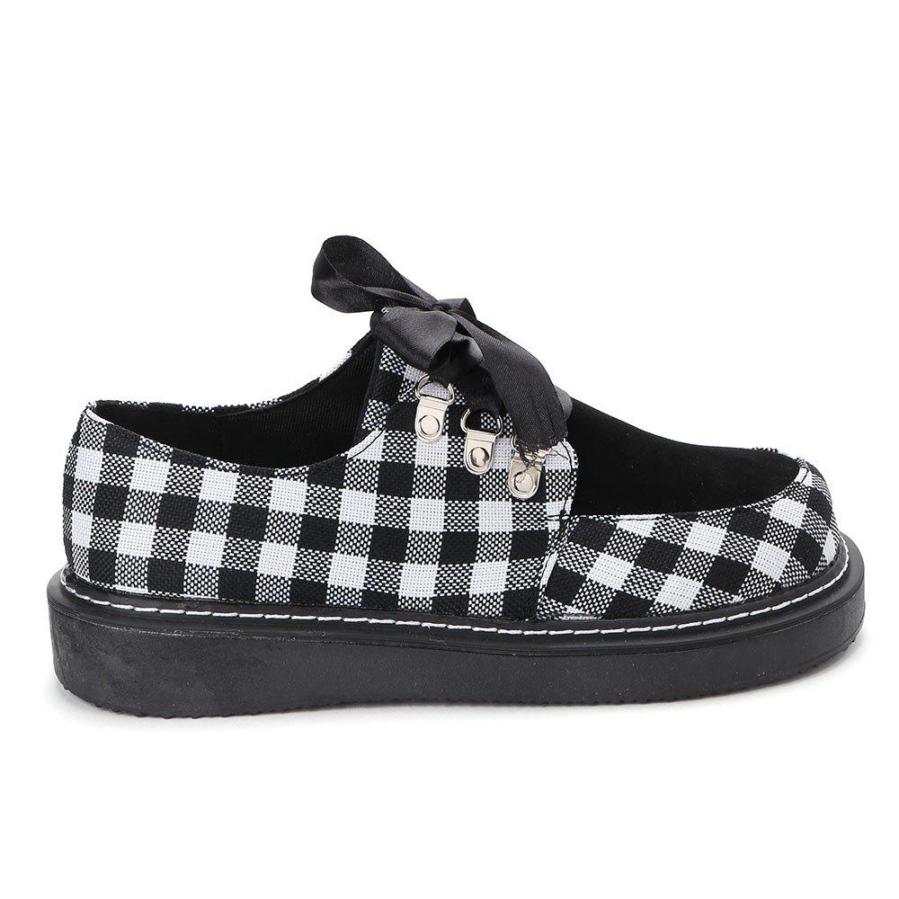 Outfits Color Block Plaid Casual Shoes