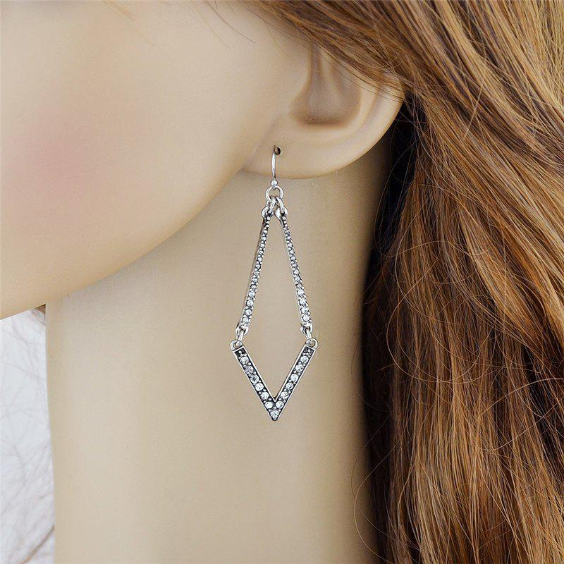 Chic Geometric Faux Diamond Hook Dangle Earrings