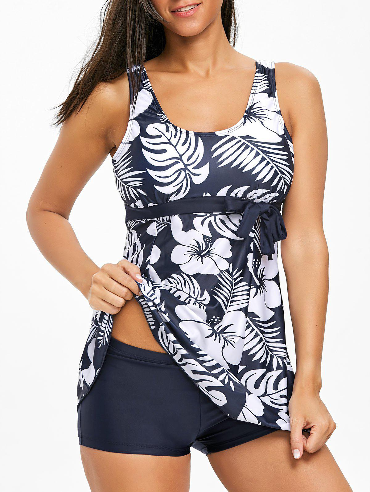 Latest Tropical Leaf Empire Waist Tankini Set