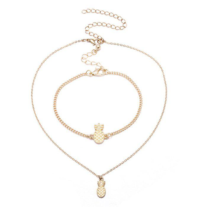 Latest Pineapple Cute Chain Bracelet and Necklace Set