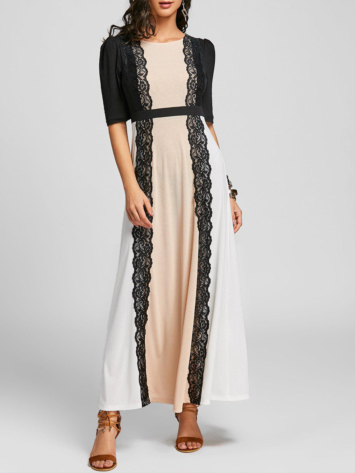 Discount Lace Panel Maxi Party Arabic Dress