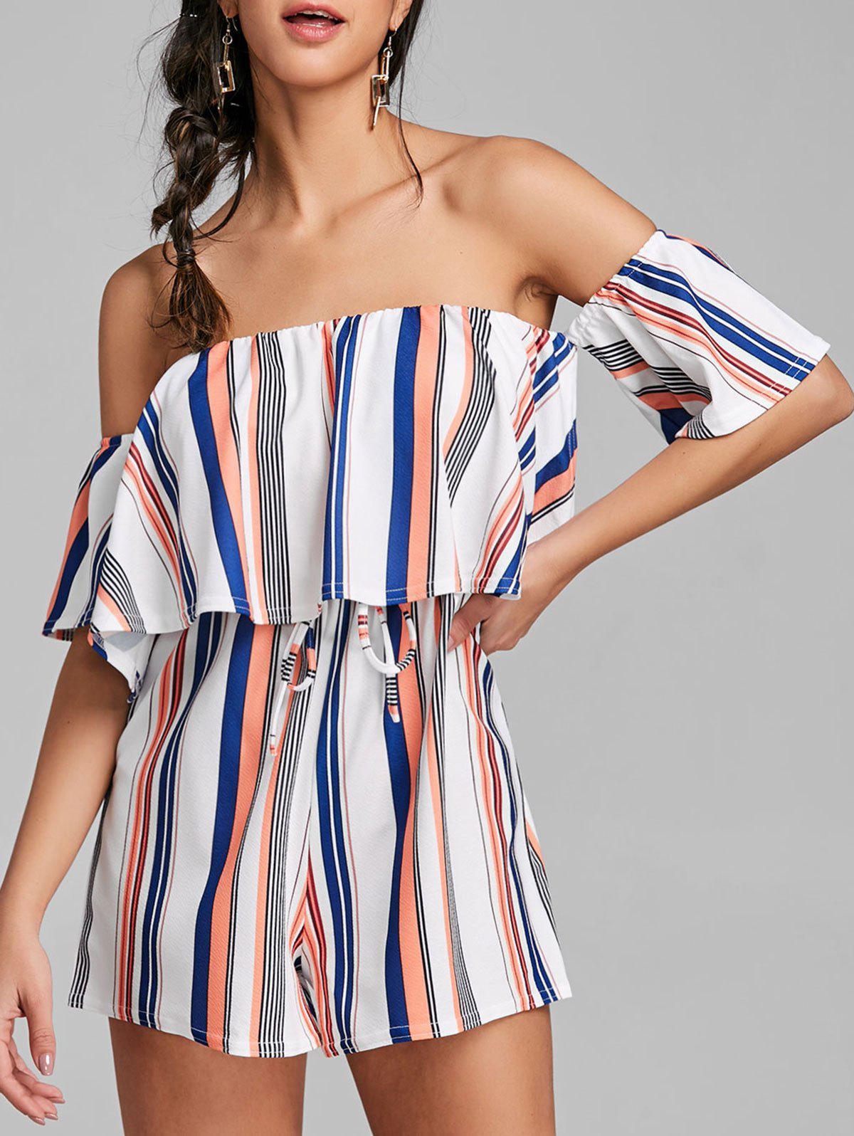 Buy Striped High Waist Off Shoulder Romper
