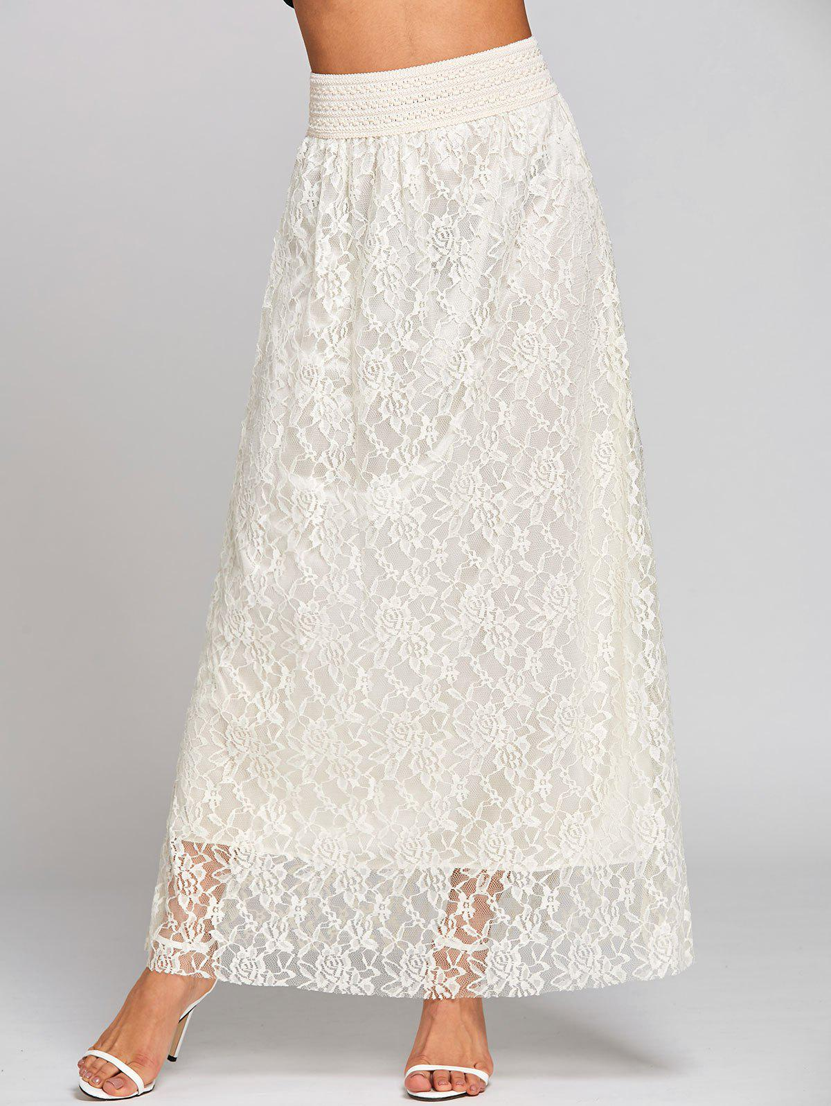 Affordable Lace High Waist Maxi Skirt