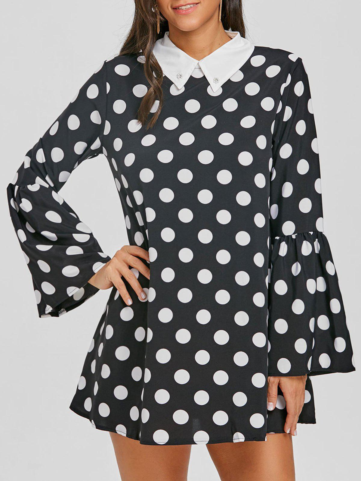Affordable Flat Collar Bell Sleeve Polka Dot Mini Dress
