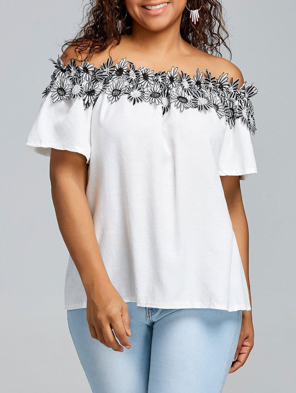 Affordable Plus Size Off The Shoulder Floral Applique Blouse