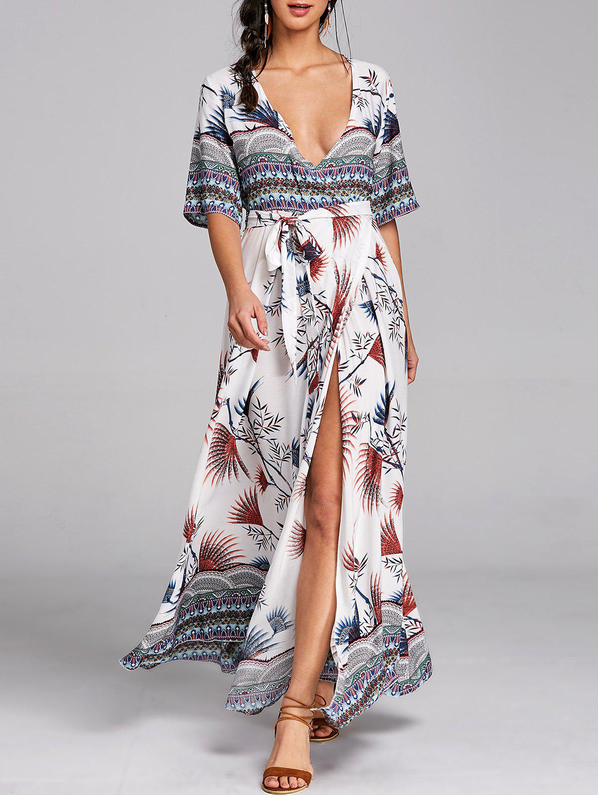 Buy Bohemian Surplice Printed Maxi Slit Dress