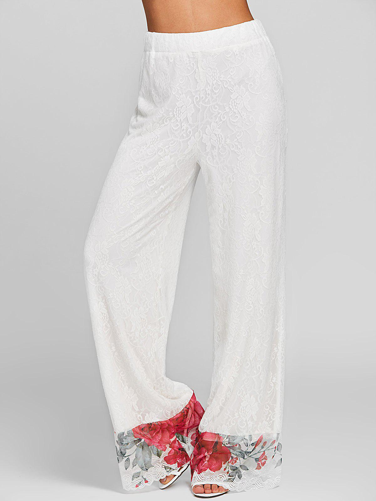 Shops Floral Lace High Rise Palazzo Pants