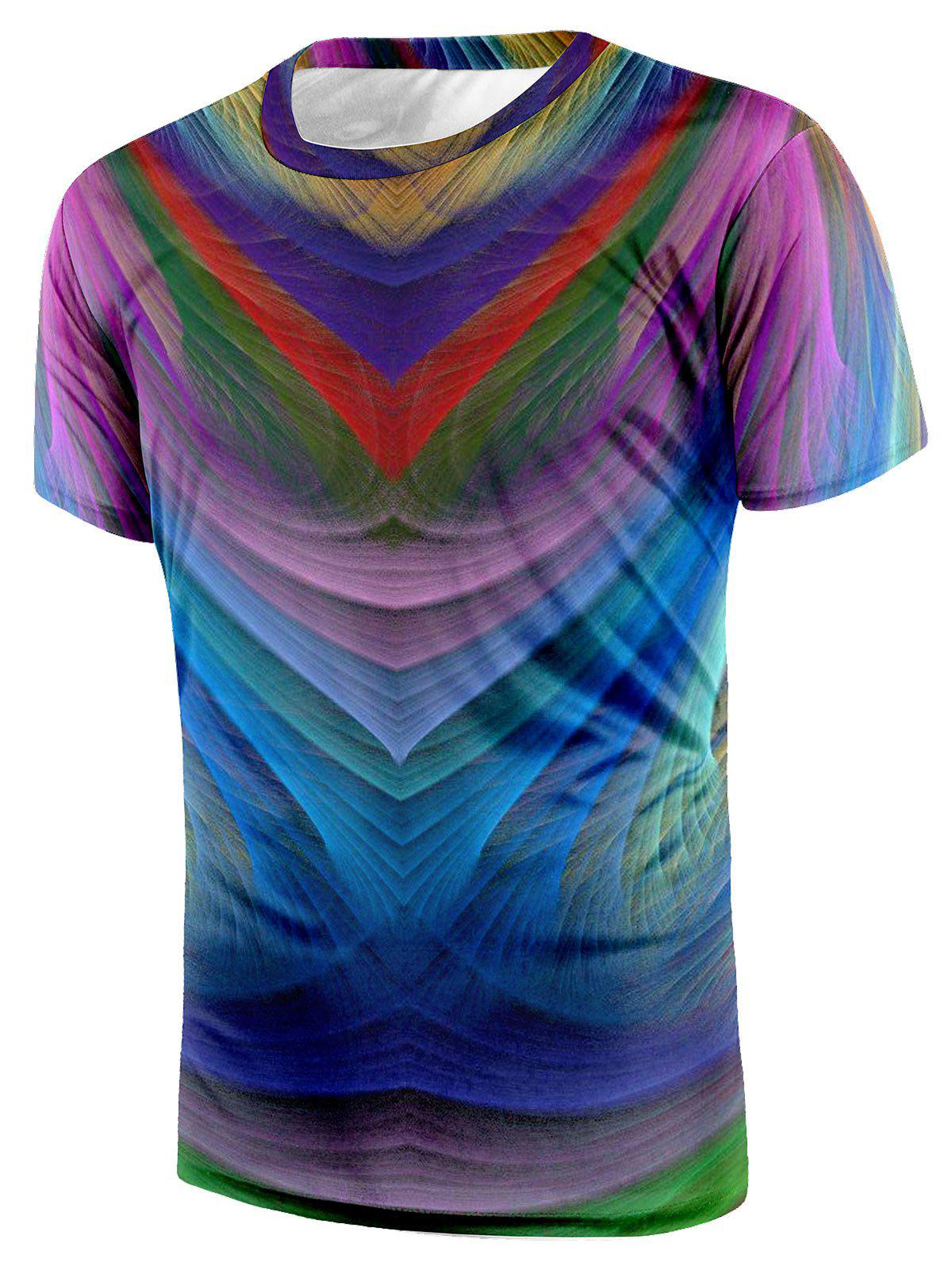 Affordable Short Sleeve Crew Neck Colorful Tee