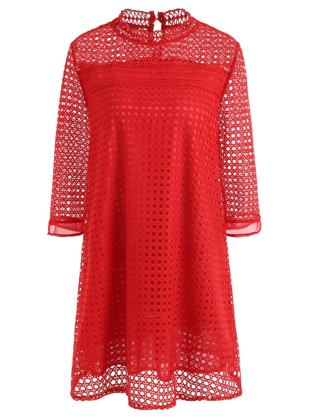 Store Plus Size Lace Hollow Out Mini Dress