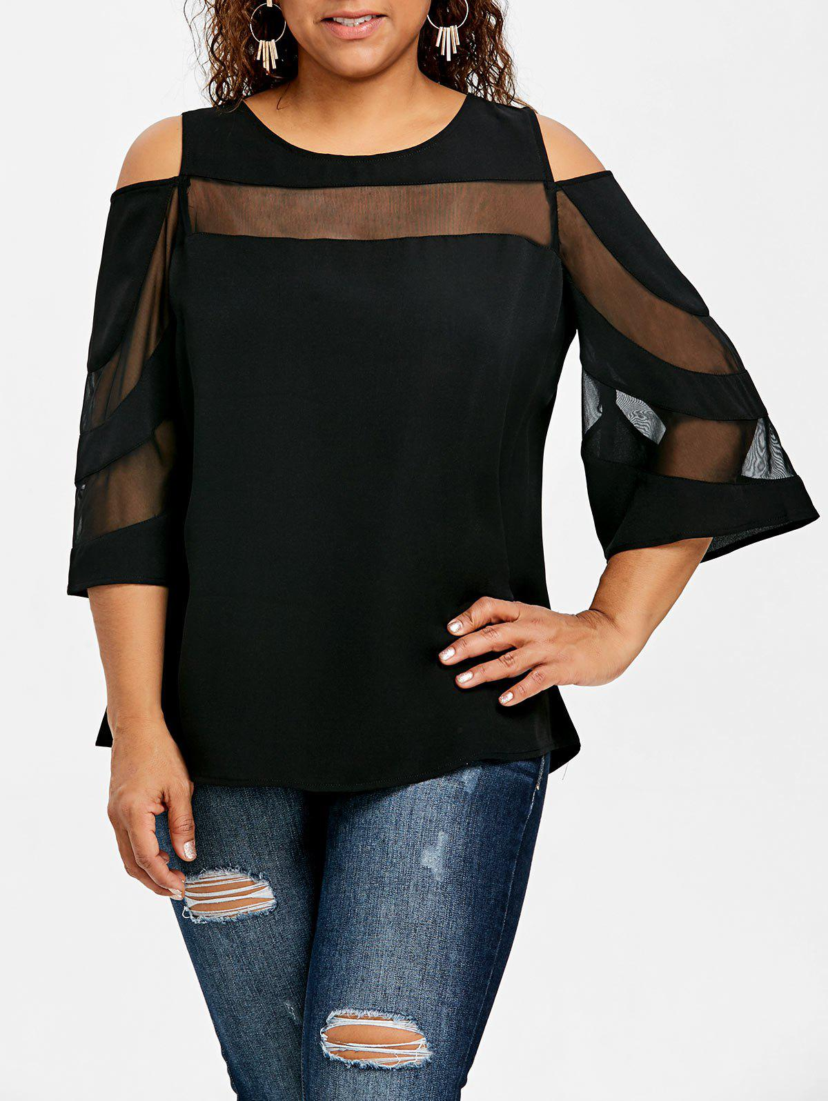 Affordable Plus Size Mesh Insert Cold Shoulder Top