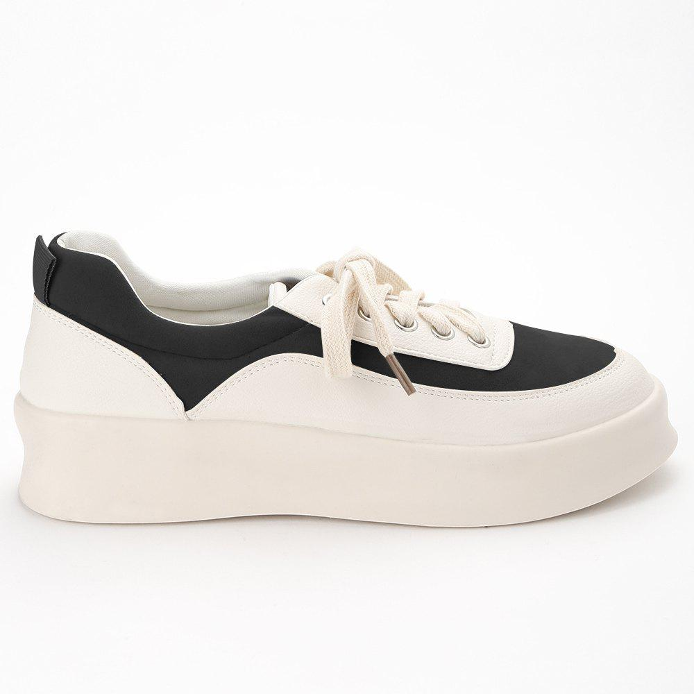 Best Round Toe Suede Panel Platform Sneakers