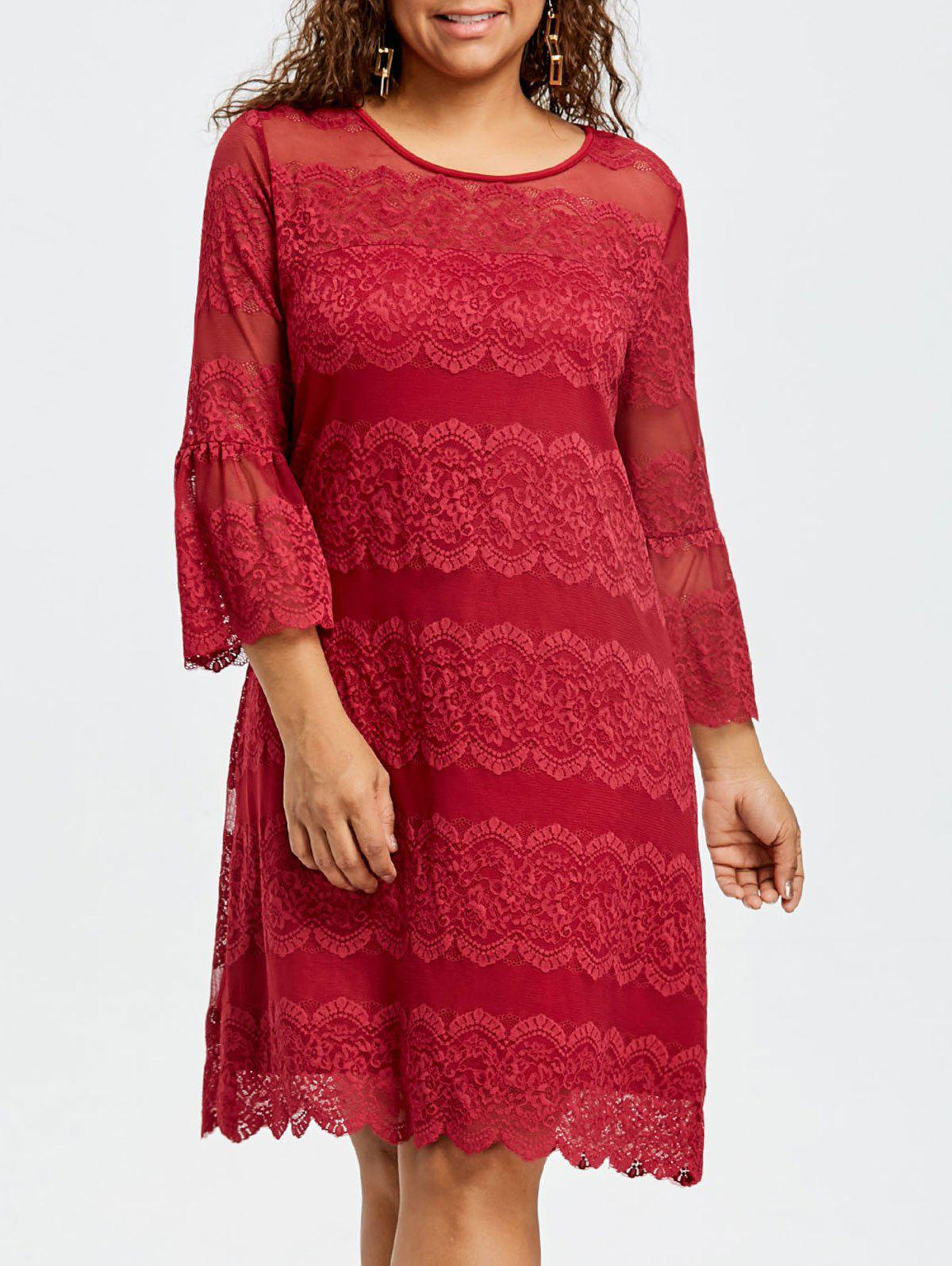Unique Plus Size Flare Sleeve Lace Dress