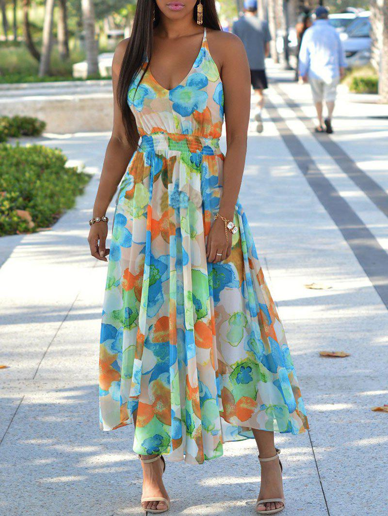 New Print Back Cut Out Bohemian Maxi Dress
