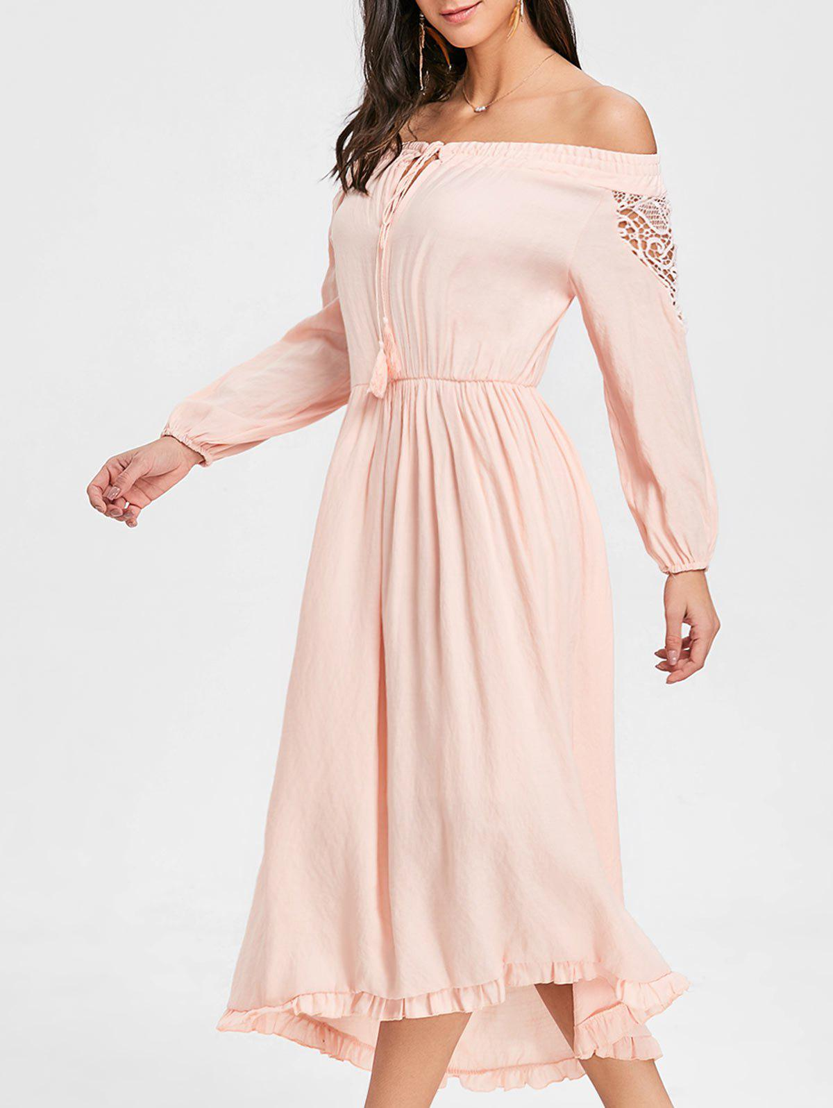 Trendy Off The Shoulder Flounce High Low Maxi Dress