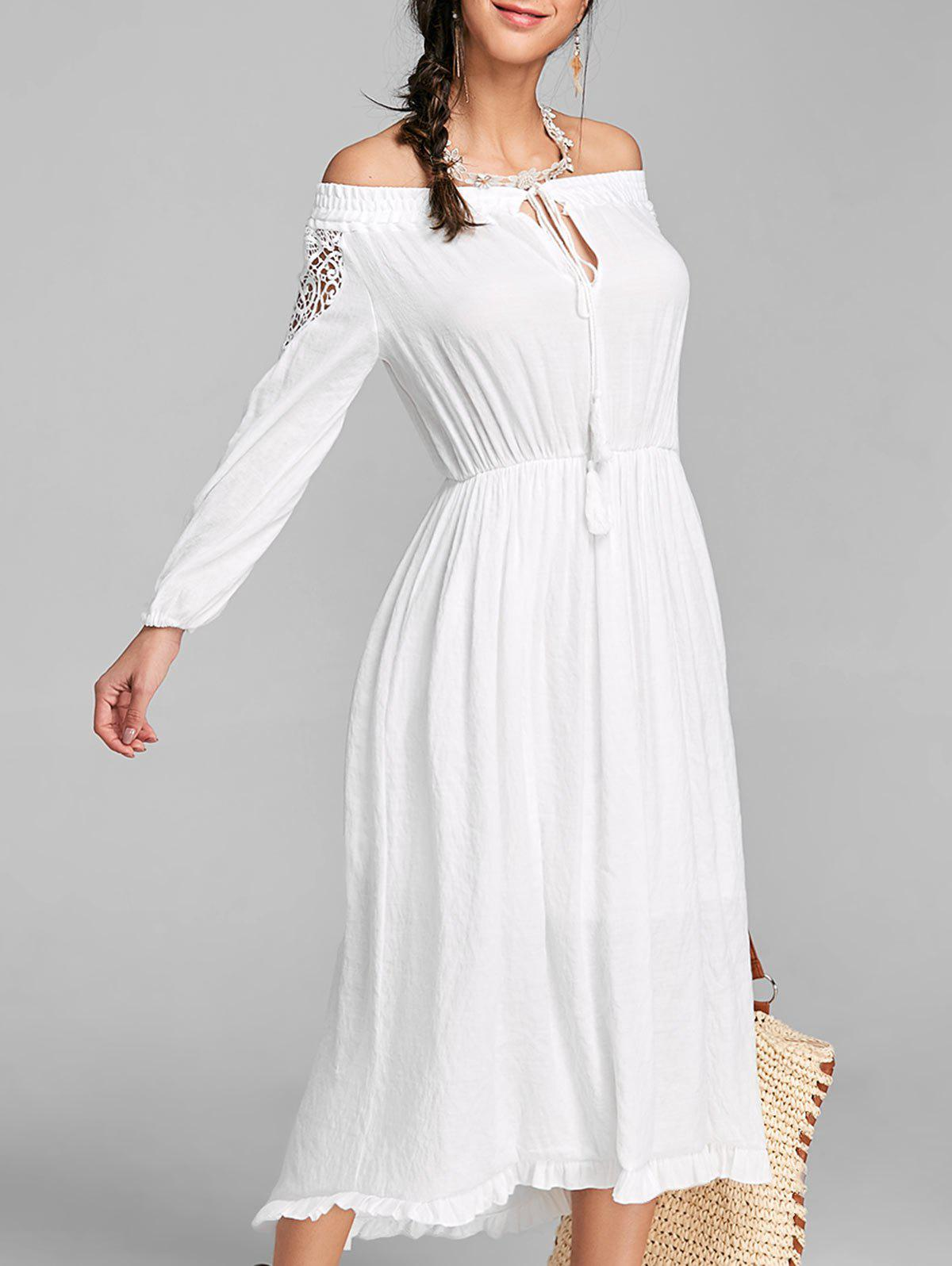 Chic Off The Shoulder Flounce High Low Maxi Dress