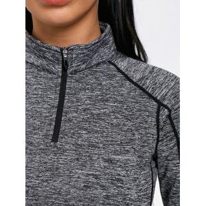 Sports Contrast  Half Zip High Neck T-shirt -