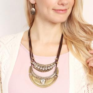 Vintage Ethnic Crescent Moon Pendant Necklace and Earrings -