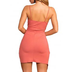Asymmetrical Spaghetti Strap Bodycon Dress -
